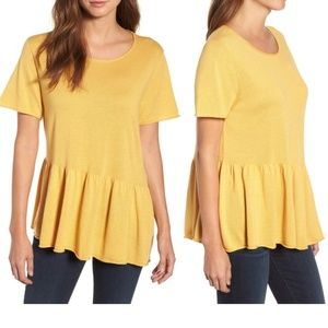 Caslon Asymetrical Raw Edge Peplum Top